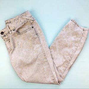 Free People Ivory Faded Damask Print Jeans